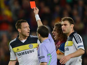 Barcelona vs Chelsea: Terry apologises over red card shame
