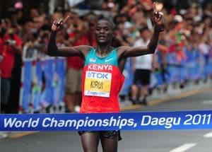 Kenya's Kirui retains men's marathon title