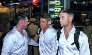 New Zealand cricketers arrive for India series