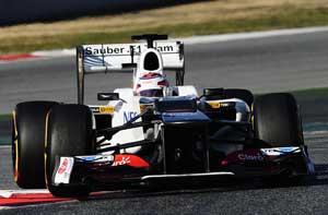 Kobayashi sets quickest lap to close F1 test