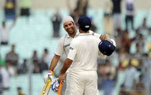 2nd Test: Laxman and Dhoni star on India's day