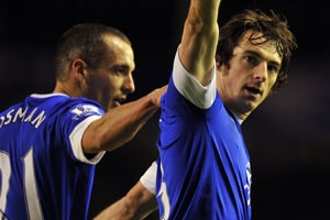 Leighton Baines keeps Everton's European hopes on track
