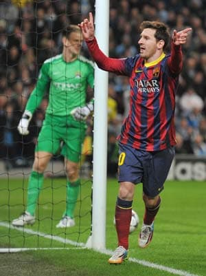Champions League: Lionel  Messi scores as Barcelona beat Manchester City 2-0