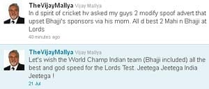 Mallya keeps up with spirit of cricket, spoof to be modified