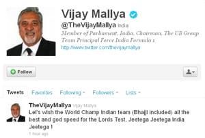 Mallya wishes Harbhajan luck ahead of Lord's Test