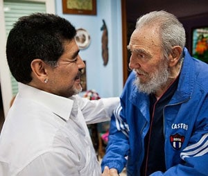 Fidel Castro meets football legend Diego Maradona