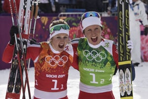 Sochi 2014: Marit Bjoergen takes Norway to women's team sprint gold