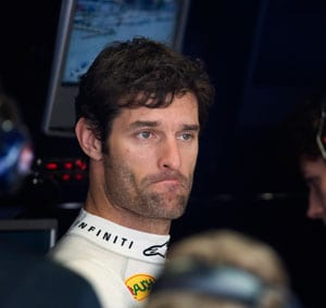 Red Bull's Mark Webber walks out of press conference