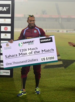 Marlon Samuels shines as West Indies beats Bangladesh in one off T20