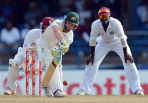 2nd Test: Australia grind on pitch offering early turn vs West Indies