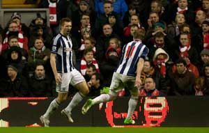 West Brom's twin strike leaves Liverpool stunned