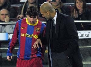 Guardiola laughs off claims of misfiring Messi