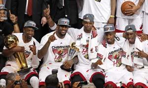 LeBron James' triple-double lifts Miami Heat to NBA title
