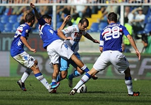Napoli beats Sampdoria 1-0 to rejoin Juventus in lead