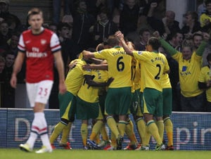 Arsenal falls to surprise 1-0 loss at Norwich