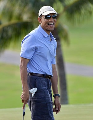 Barack Obama 'tees off' Christmas vacation