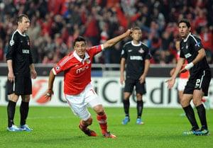Benfica's Cardozo strikes twice to sink Spartak