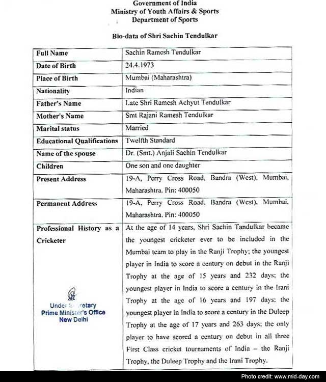Sachin Tendulkar's CV that got him Bharat Ratna