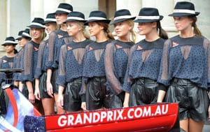Melbourne Grand Prix pit girls get off the block