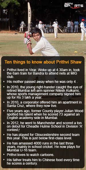 The next Sachin Tendulkar? Mumbai schoolboy Prithvi Shaw hits record 546 in Under-16 Harris Shield match