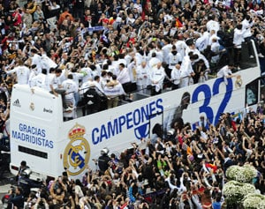 Real Madrid parade in Spanish league triumph