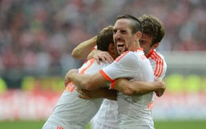Bayern rout Duesseldorf to claim record eighth win