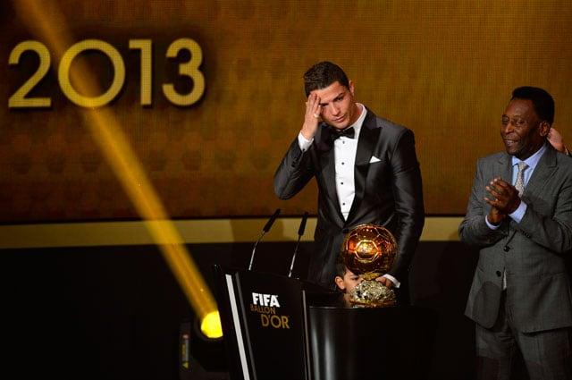 Cristiano Ronaldo wins the 2013 FIFA Ballon d'Or award