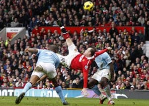 Rooney overhead kick voted greatest English Premier League goal