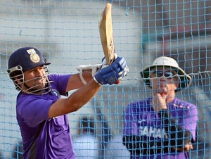 All concentration: Sachin Tendulkar slogs hard at Eden Gardens