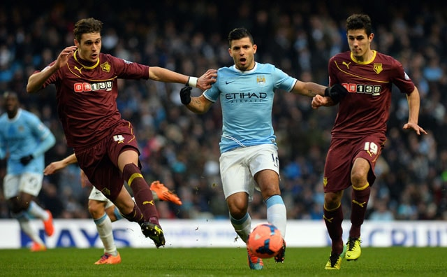 Sergio Aguero's late hat-trick helps Manchester City beat Watford 4-2 in FA Cup