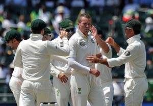 Australian team arrives for third Test