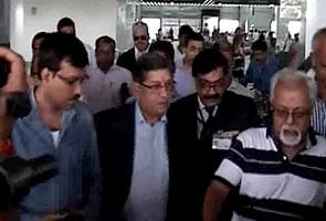 N. Srinivasan arrives to attend BCCI AGM