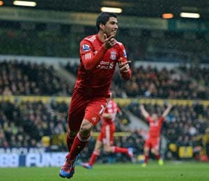 Suarez hat-trick helps Liverpool down Norwich