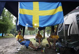 Euro 2012: Devoted Swedish fans get cold comfort from camp