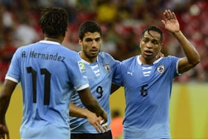 Uruguay rout Tahiti, face Brazil in Confederations Cup semis
