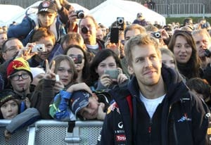 Rousing recpetion at home for Sebastian Vettel