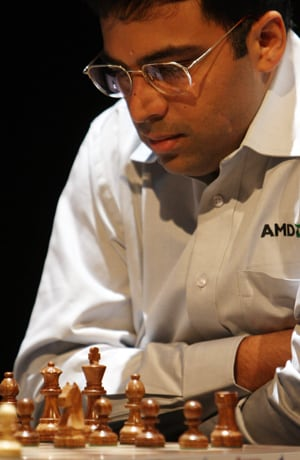 Viswanathan Anand holds Magnus Carlsen with black in Norway Chess Meet