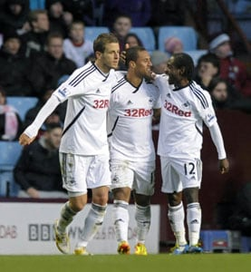 Swansea stun Villa with first away win
