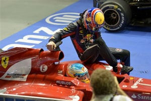 Mark Webber faces grid penalty for riding on Fernando Alonso's Ferrari