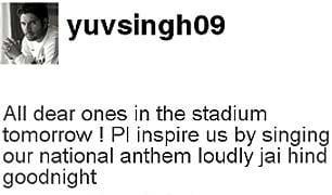 Yuvraj urges fans to sing national anthem loudly