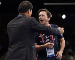 London 2012 Wrestling: US coach Zeke Jones gets yellow card at Olympics